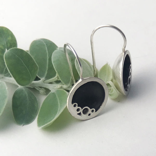 Sterling silver round black ring drop earrings