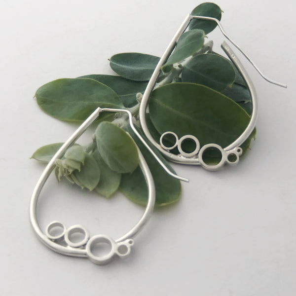 Large tear bubble sterling silver earrings