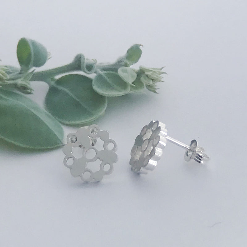Circle of bubbles stud earrings