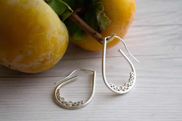 Sterling silver bubble tear medium earrings
