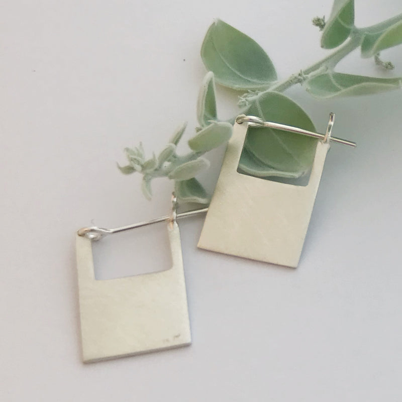 Square silver hoops