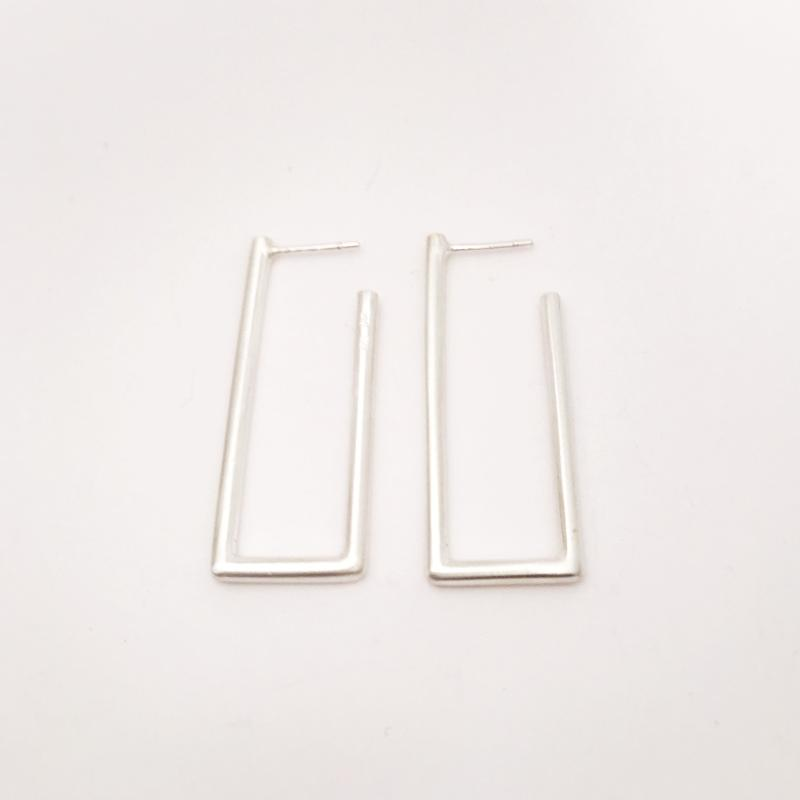 Large Rectangle silver stud earrings