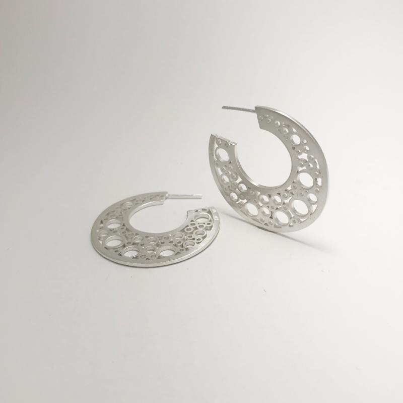 Large Sterling Silver hoopla earrings