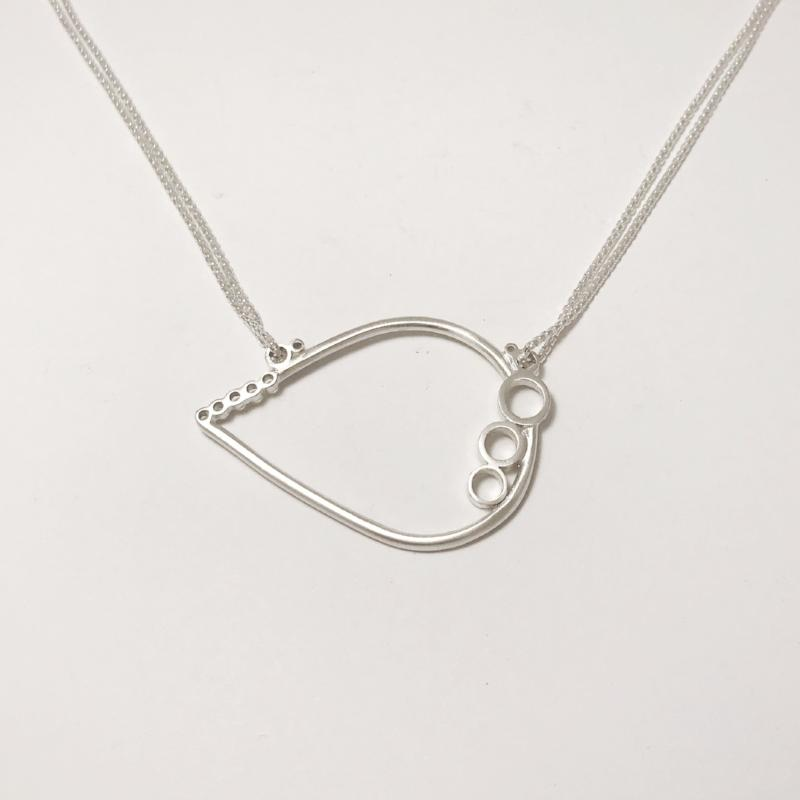 Silver bubble tear necklace