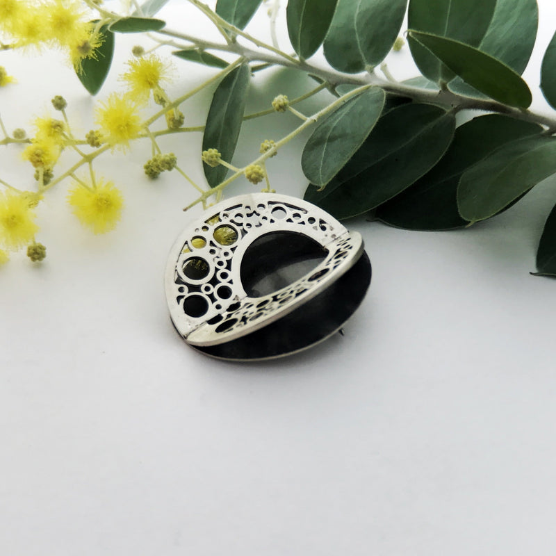 Double Hoopla Circle Sterling Silver Brooch