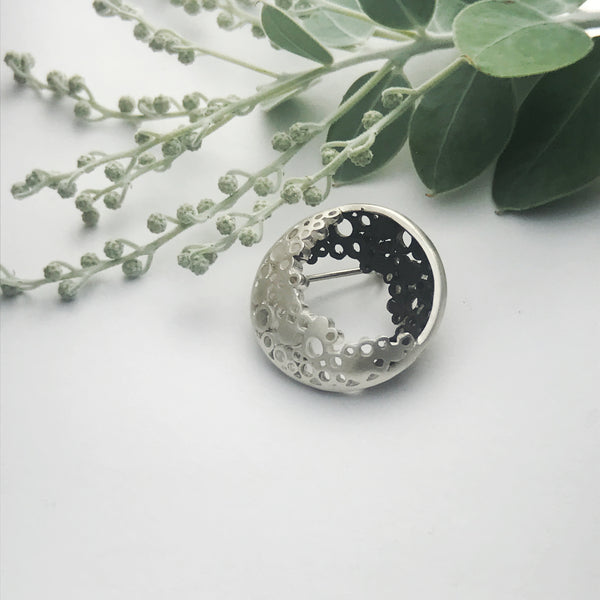 Pebble Moon Silver Brooch