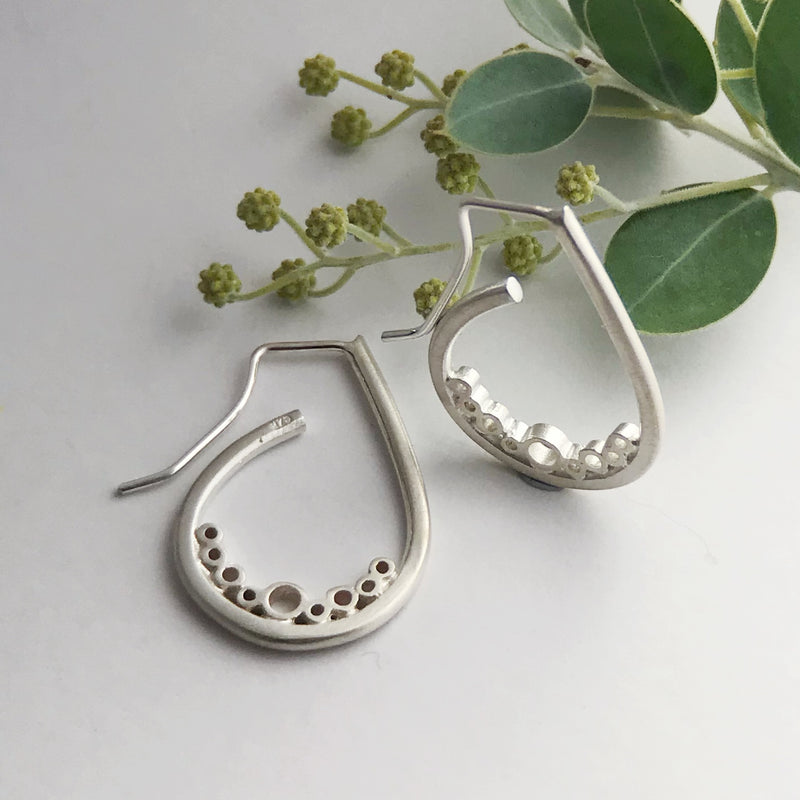 Silver bubble small tear earrings
