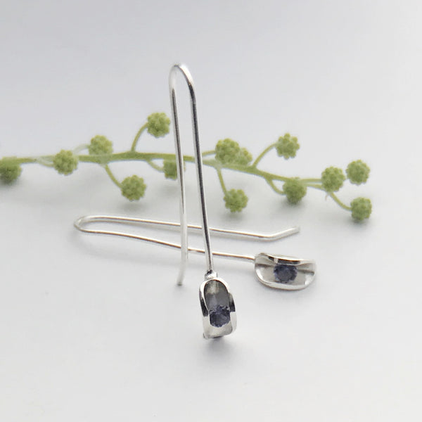 Iolite silver drop earrings