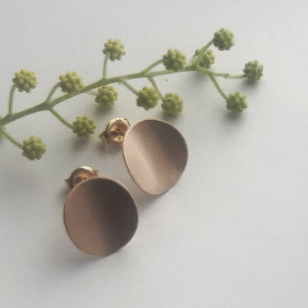 Large Rose gold curve earrings