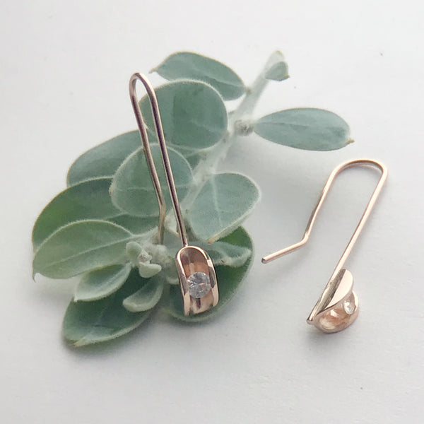 White Sapphire Rose Gold drop earrings