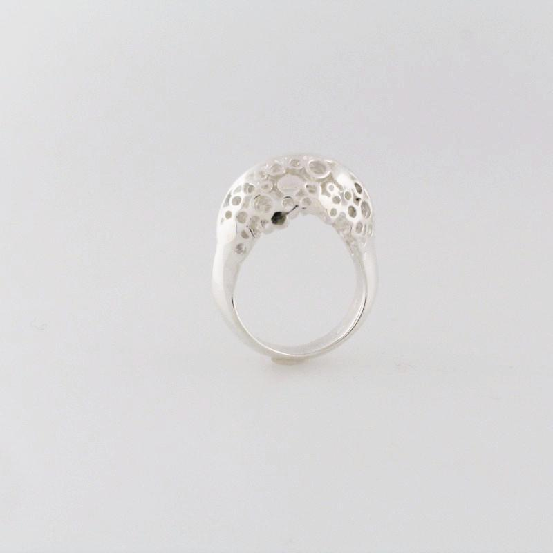 Silver High Pebble Road Ring