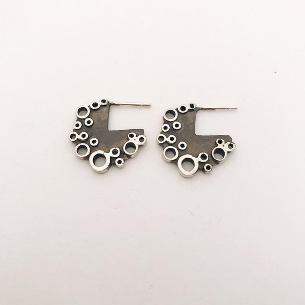 Blackened Sterling silver holly studs