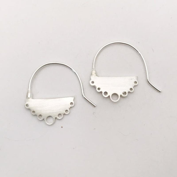 Small flat sterling silver cloud earrings