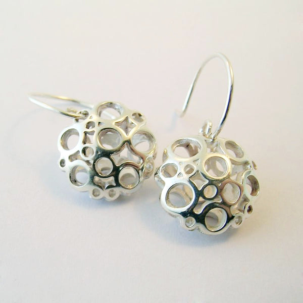 Large Flower Silver Drop Earrings