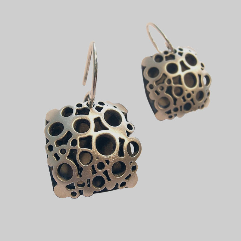 Large Square Flower Drop Earrings