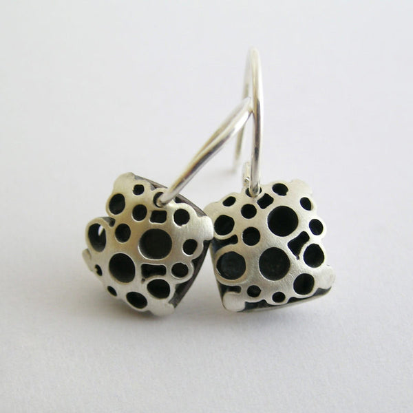 Small Square Flower Drop Earrings