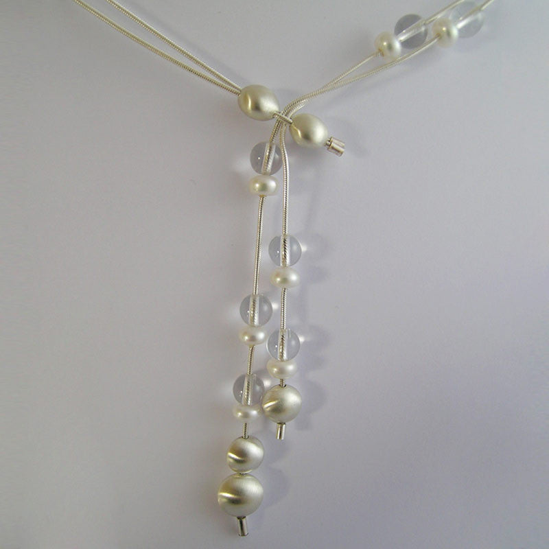 Quartz and Pearl Droplet Neckpiece