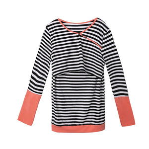 Double Layer Striped Print Long Sleeve Maternity Breastfeeding Top - ecomumshop
