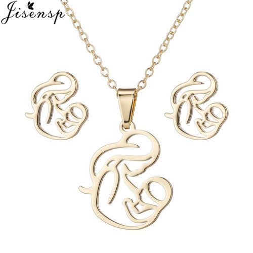 Jisensp Maternal Love Stainless Steel Jewelry Sets Simple Hollow Breastfeeding Pendant Necklace Wedding Jewelry for Women Gift