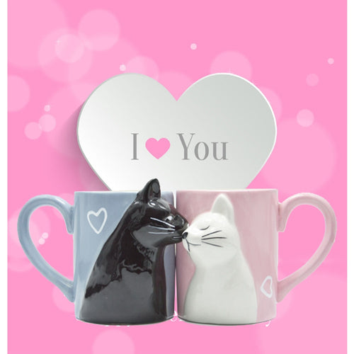 Cat Kissing Pair of Mugs, Hand  Made and Hand Painted.