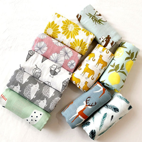 Organic Cotton Muslin/Wash Cloth, Fun Designs