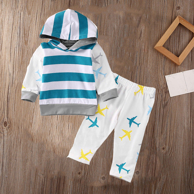 Organic Airplane Newborn Baby Boy Girl Clothes Set Tops T-shirt Pants Long Sleeve Cotton Blue 2Pcs Outfits Baby Boys Set - ecomumshop