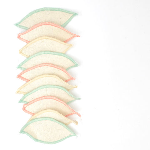 reusable 100% organic cotton interlabial pads in variety of colours