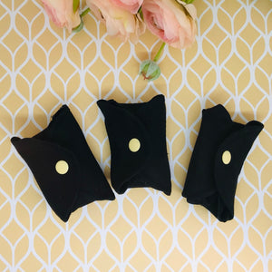 Mini Pad - Pack of 3 - Cloth Reusable Pantyliner - 100% Organic Cotton - Black
