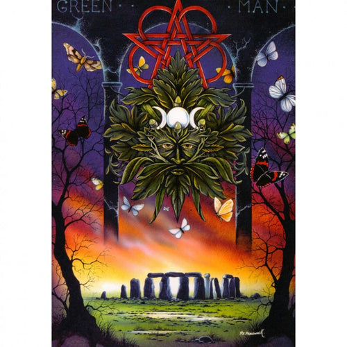 The Green Man with Stonehenge Greeting Card (Blank)