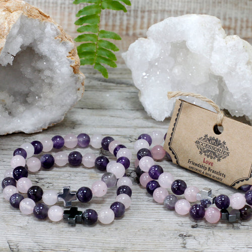 Set of 2 Love Gemstone Friendship Bracelets - Melluna_UK
