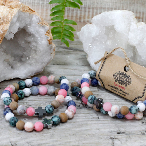 Set of 2 Harmony Gemstone Friendship Bracelets - Melluna_UK