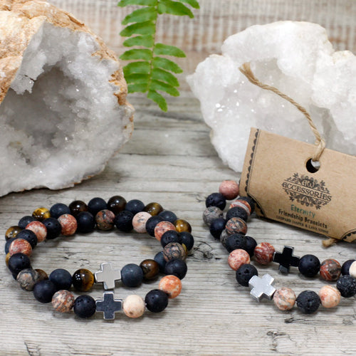 Set of 2 Eternity Gemstone Friendship Bracelets - Melluna_UK