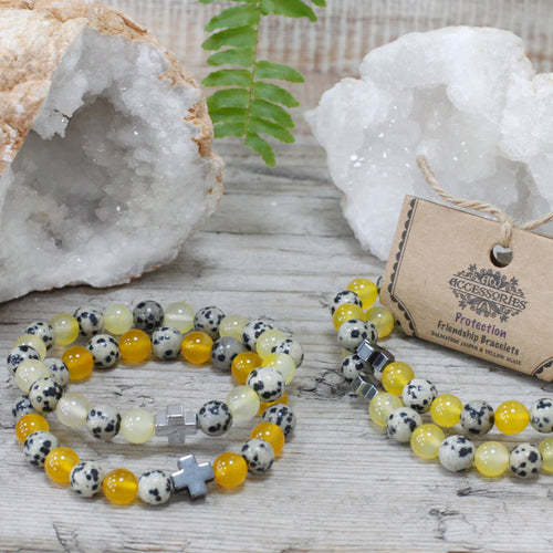 Set of 2 Protection Gemstone Friendship Bracelets - Melluna_UK