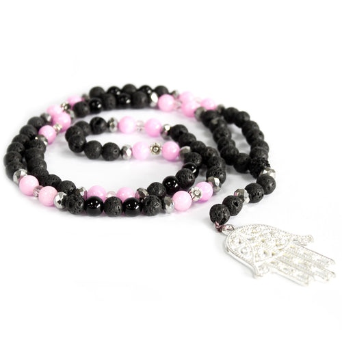 Pink & Black Hamsa Gemstone Necklace