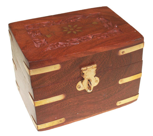 Extra Small Carved Wooden Aromatherapy Box - Melluna_UK