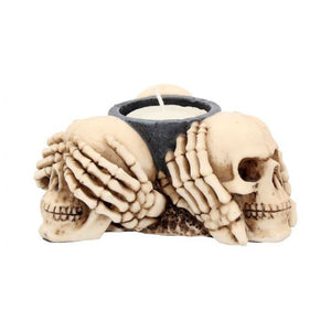 Three Wise Skulls Tealight Holder 11cm ***COMING SOON***