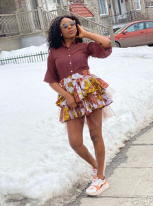 Two Piece Skirt Brown Set - Ogaga
