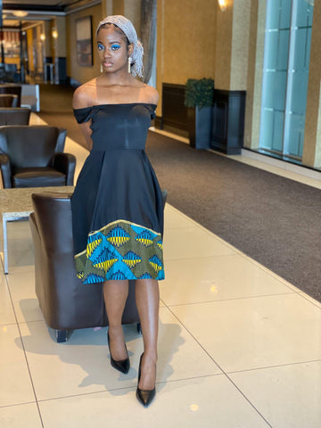 African Infused Off Shoulder Dress - Rachel