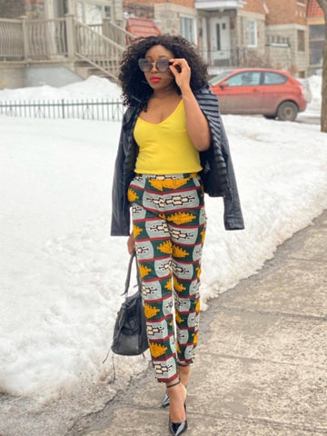 African Print Straight Pants - Rome