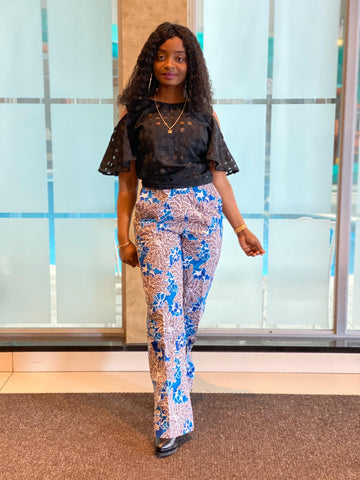 African Print Boot Cut Pants - Kefe