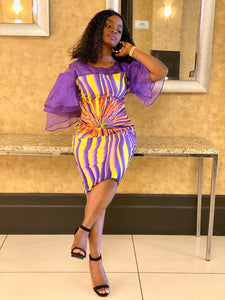 African Print Ruffle Purple Sleeve Dress - Kess