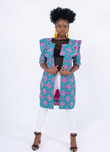 African Print Bold Collar Kimono - Fejiro, Female, Dial_Outfits, Dial_Outfits