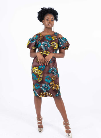 Image of African Print Power Hand Dress - Meera, Female, Dial_Outfits, Dial_Outfits