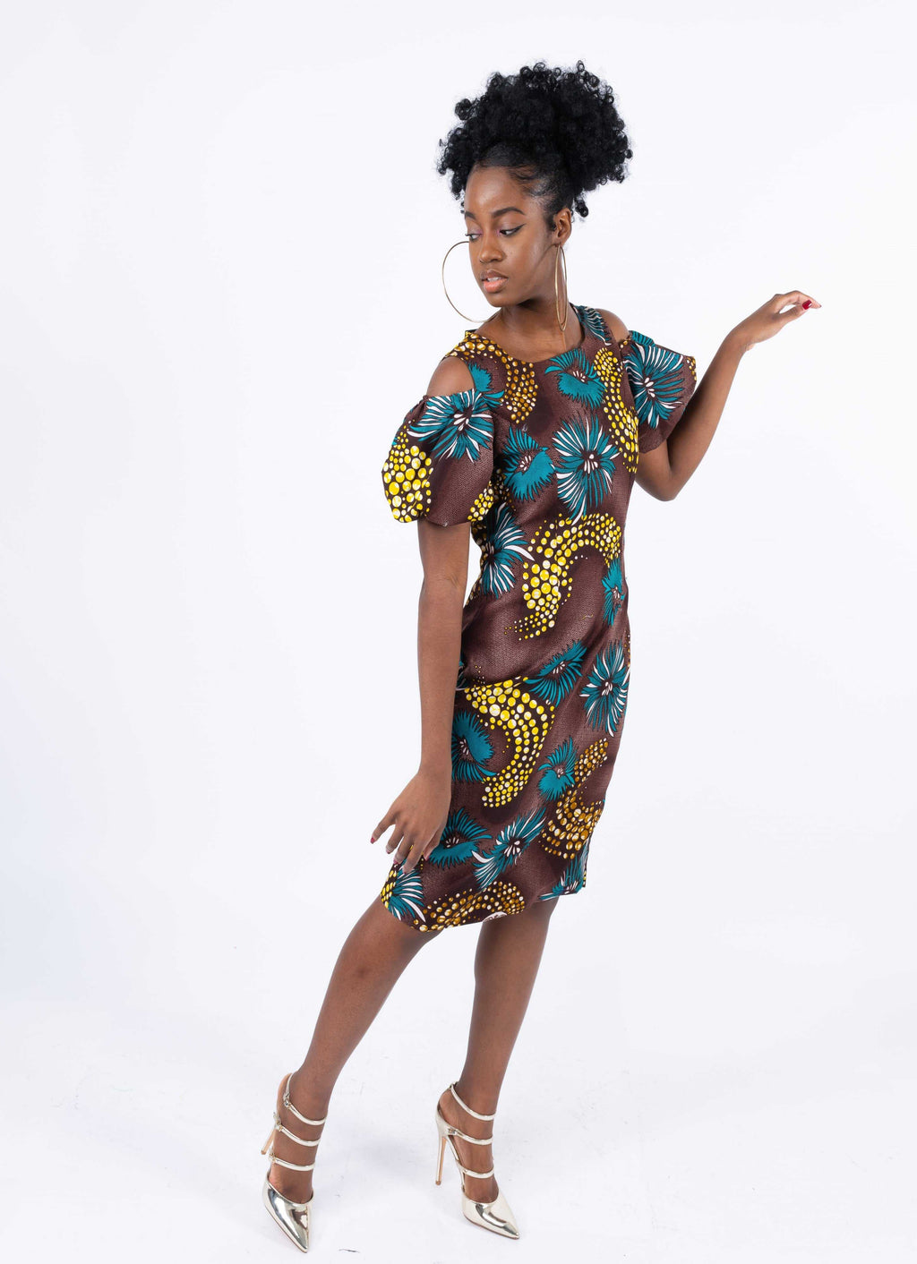 African Print Power Hand Dress - Meera, Female, Dial_Outfits, Dial_Outfits