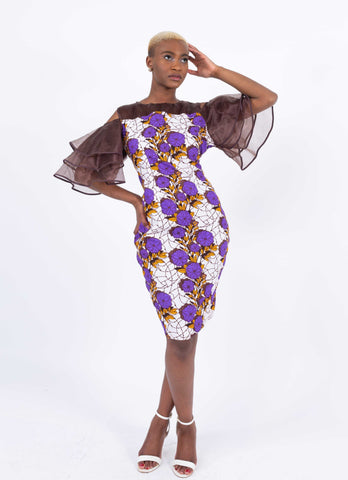 Image of African Print Ruffle Sleeve Dress - Kess, Female, Dial_Outfits, Dial_Outfits