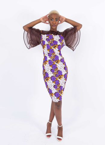African Print Ruffle Sleeve Dress - Kess, Female, Dial_Outfits, Dial_Outfits