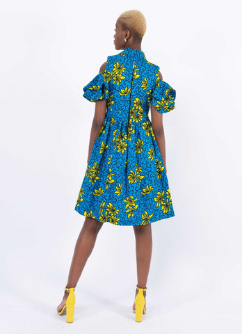 African Print Bishop Neck Dress - Bluray, Female, Dial_Outfits, Dial_Outfits