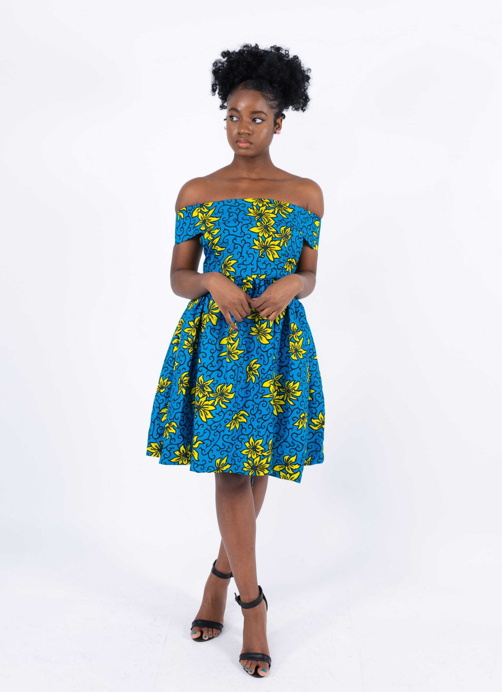 African Print Off Shoulder Dress - Princess, Female, Dial_Outfits, Dial_Outfits