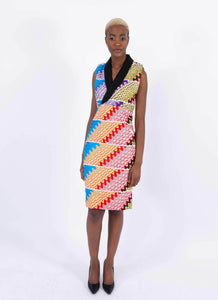 African Print V-Neck Dress - Kome, Female, Dial_Outfits, Dial_Outfits