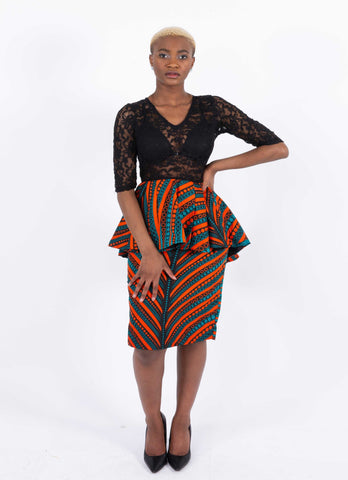 Image of African Lace Infused Dress - Okite, Female, Dial_Outfits, Dial_Outfits